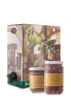 Bundle olio extravergine di oliva e barattoli olive e patè di olive Novella e Vignolo