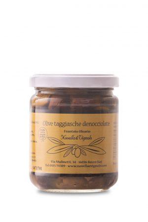Olive taggiasche denocciolate in olio extravergine di oliva Novella e Vignolo