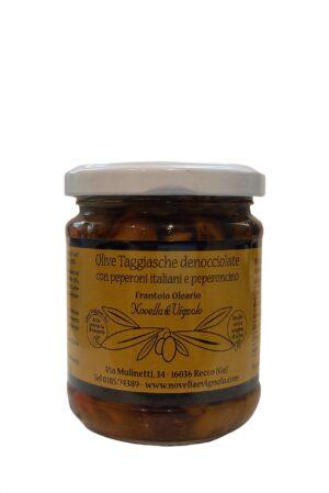 Olive taggiasche denocciolate con peperoni italiani e peperoncino di Novella e Vignolo